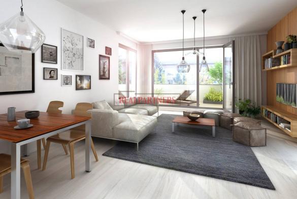 Nový byt 1+kk o ploše 34,7 m² + terasa 12,7 m² + 9,2 m² balkon na Praze 6 - Liboc.