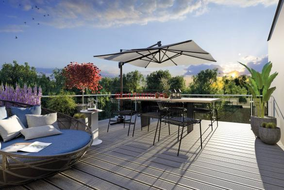 Nový byt 4+kk o ploše 106,3 m² + balkón 21 m² + terasa 11 m²  ve výstavbě.