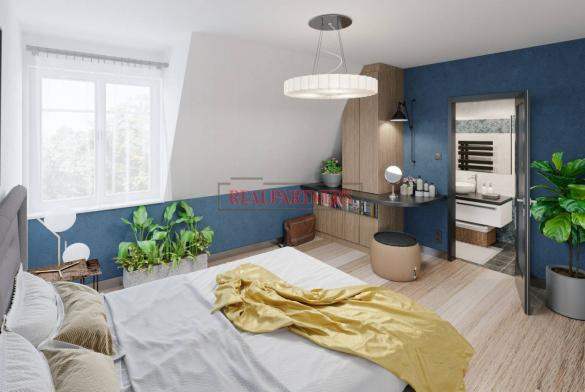 Nový, dvoupodlažní 4+kk s vyššími stropy o ploše 120 m² + 11 m² terasa, volným výhledem + sklep.